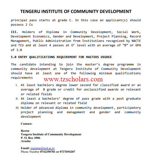 TICD Admission Entry Requirements