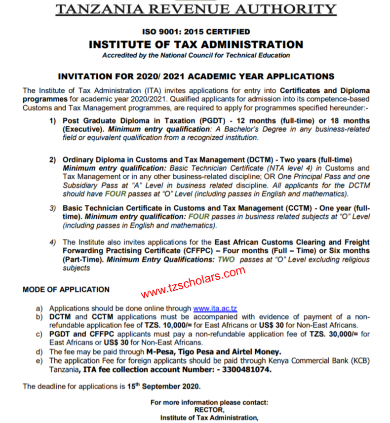 Institute of Tax Administration application form